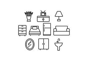 Vecteur d'icône de ligne de meuble gratuit