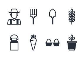 Ensemble d'icônes d'agriculteur vecteur
