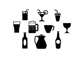 Vecteur d'icônes de silhouette de boisson gratuit