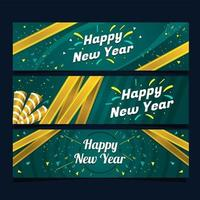 bannière de confettis de nouvel an en or de luxe vecteur