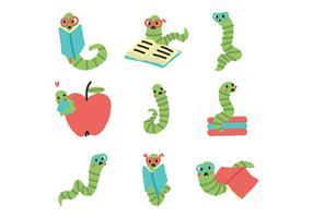 Cute Bookworms appréciant les vecteurs de lecture