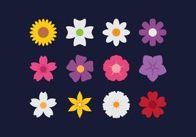 Icônes plates à fleurs vecteur