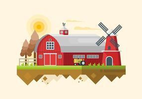 Illustration de grange rouge