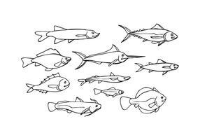 Vecteur libre d'icônes de croquis de poisson