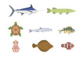 Vecteurs d'animaux de mer plats