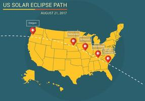 Vecteur de carte de chemin d'eclipse solaire