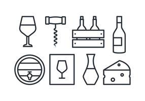 Ensemble d'icônes de vin vecteur