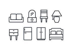 Pack d'icônes de meubles vecteur