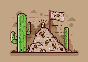 Vecteur de mine de ruée de l'or du désert