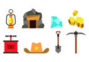 Ensemble d'icônes de la ruée vers l'or vecteur