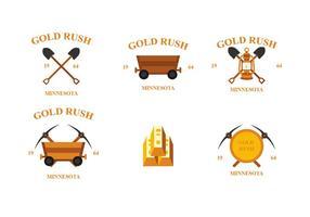 Emblèmes vectoriels de la ruée vers l'or vecteur