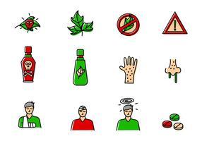 Ensemble d'icônes de poison Ivy vecteur