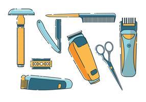 Collection d'outils de rasage de salon de coiffure vecteur