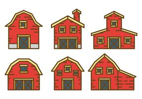 Icônes de vecteur de grange rouge