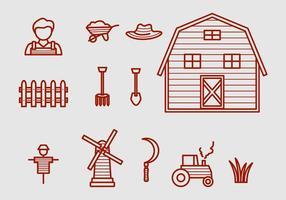 Icônes de vecteur de ferme
