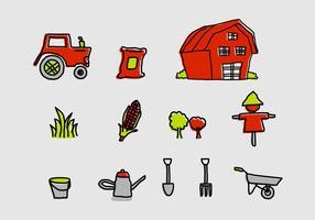 Ensemble d'icônes de ferme vecteur