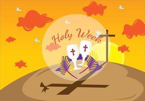 Illustration de la Semaine Sainte du Carême vecteur