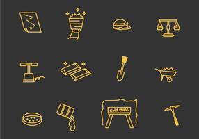 Icônes de vecteur de mine d'or