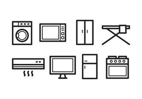 Ensemble d'icônes d'électroménager vecteur