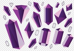 Minéraux en quartz en cristal d'améthyste en pierre vecteur