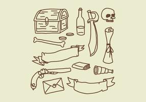 Éléments de doodle pirate vecteur