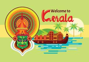 Bateaux à moteur en Kerala India Vector