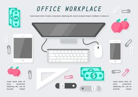 Illustration vectorielle Flat Office Workplace gratuite