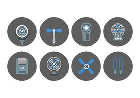 Icônes pour ventilateur et ventilateur vecteur