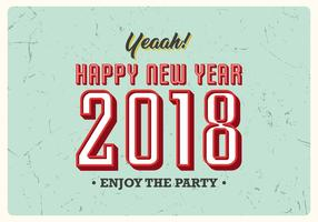 Affiche vintage du Nouvel An 2018