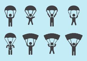 Vecteurs d'icônes de parachutisme vecteur
