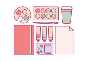 Essentiels de fournitures d'art vectoriel