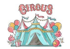 Tente de cirque avec des ballons, du pop corn et de la crème glacée