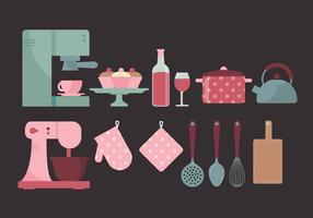 Éléments de cuisine vectorielle vecteur