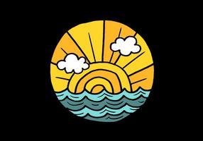 Badge minimaliste nautique vecteur
