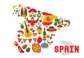 Ensemble d'icônes vectorielles en Espagne vecteur
