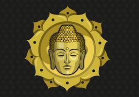 Buddah Illustration Vectorisée Avec Fond De Motif vecteur