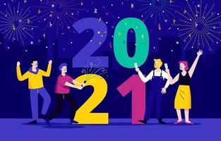 fête le nouvel an avec des amis vecteur