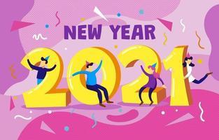 2021 avec des gens qui célèbrent le nouvel an