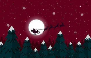 Père Noël et ses rennes à la nuit de Noël enneigée vecteur