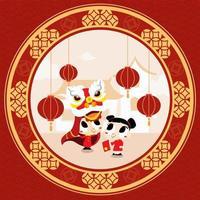 deux enfants célèbrent le nouvel an chinois vecteur