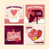 collections de cartes de valentine dessinées à la main vecteur
