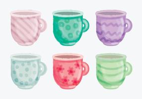 Tasses dessinées à main vectorielle