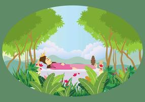 Princesse de sommeil libre dans l'illustration forestière vecteur