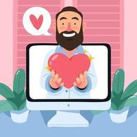 célébration virtuelle de la Saint-Valentin vecteur