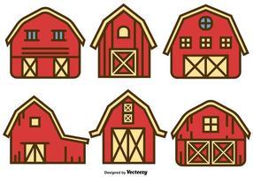 Ensemble vectoriel d'icônes de maisons à grange rouge