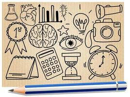 Différents traits de doodle sur l'équipement scolaire sur un papier avec un crayon