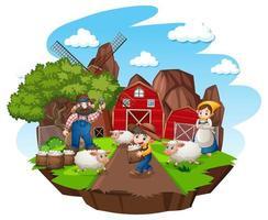 Ferme avec grange rouge et moulin à vent sur fond blanc
