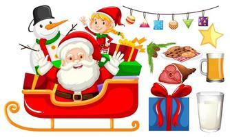 Père Noël assis sur un traîneau avec bonhomme de neige et fille elfe