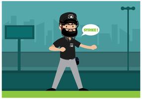Vecteur de personnage gratuit de l'arbitre de baseball
