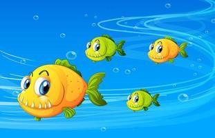 personnage de dessin animé de nombreux poissons exotiques dans la scène sous-marine